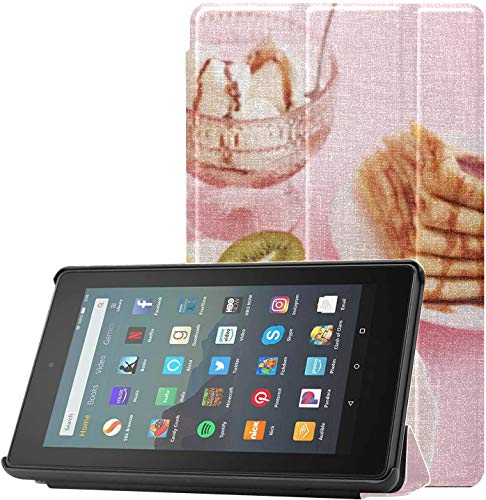 All-New Amazon Fire 7 Tablet Case (9th Generation, 2019 Release) Slim Fit Pu Leather Standing Romantic Breakfast Valentines Day On February Fire 7 Tablet Standing with Auto Wake/Sleep
