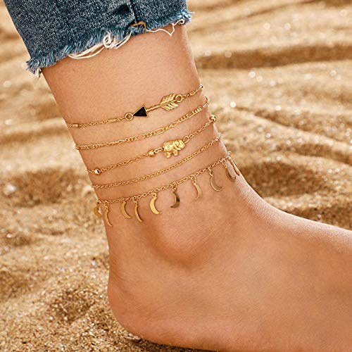 U/N Gold Color Bohemia Anklets Set for Beads Trendy Ankle Bracelet Female Beach Jewelry