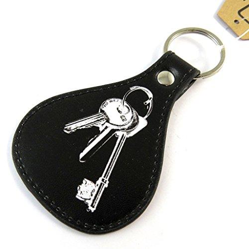 Schlüsselanhänger 'Tom's Depot'schwarz weiß Vintage - 11x6x2 cm.