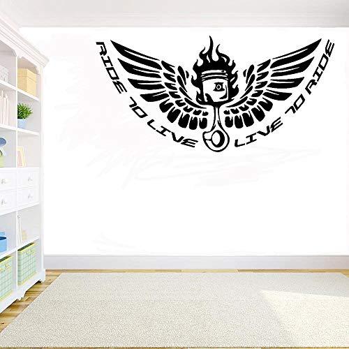 jiuyaomai Sport Vinyl Wandaufkleber Fahrt zum Leben Zitat Wandtattoo Fahrer Club Wanddekoration Sammlung A117x57cm