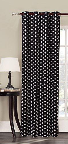DecoKing Premium 94419 Vorhang 140x245 schwarz Ösenschal Fensterdekoration geometrisches Muster Blickdicht weiß Hypnosis Harmony