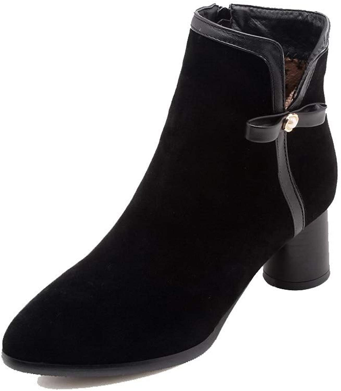 WeiPoot Women's Zipper Closed-Toe Kitten-Heels Frosted Low-Top Boots, EGHXH109247
