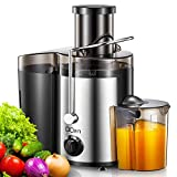 """Juicer Machine, Centrifugal Juicer 500W, 76MM/3"""" Feed Chute for Whole Fruit Vegetable, 2 Speed Mode Juice Extractor, Stainless Steel, Easy Clean, Non-Slip Feet, Safety Lock Arm, BPA-Free, by QCen"""