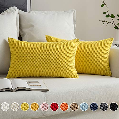 MIULEE - Juego de 2 fundas de almohada decorativas suaves para casa de campo, diseño de maíz de pana para sofá, cama, 30,5 x 50,8 cm, color amarillo limón