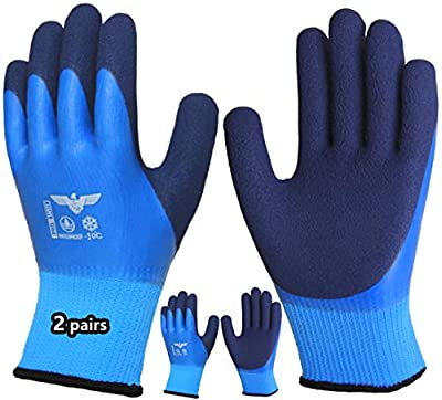 Pro Thermal Winter Waterproof Work Gloves 2 Pairs, Superior Grip Coating Insulated Polar Fleece Liner Warm Cold Weather Outdoor Construction Garden Snow Activities.
