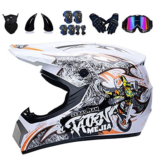 Casco da motocross per bambini, con certificazione DOT, con occhiali e paragrafi in ABS, casco integrale da motocross per downhill Bike ATV BMX (M 56-57 cm)