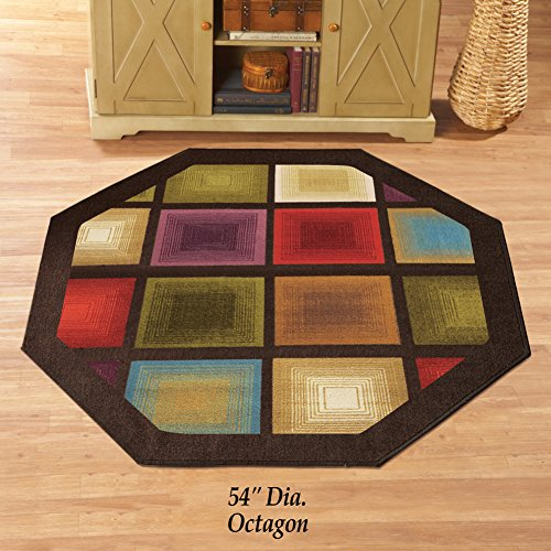"Colorful Optic Squares Geometric Octagon Area Rug with Skid-Resistant Backing, in Earth-Tone Colors with Chocolate Border 54"" X 54"""
