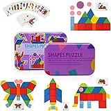 Tangram Madera Montessori Puzzle de Madera 34 puzzles de formas y 50 Tarjetas de patrones para juegos de clasificación y apilamiento, Juguetes educativos Regalos para niños pequeños Niños Niñas