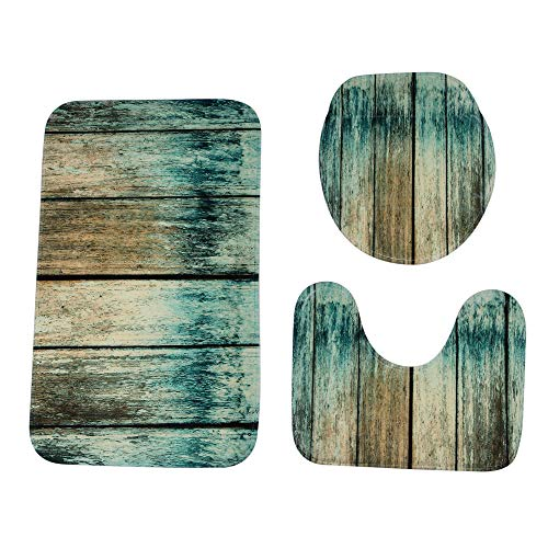 Fineday Woodgrain Bathroom Non-Slip Pedestal Rug + Lid Toilet Cover + Bath Mat Set, Home Decor, Products for Christmas (G)