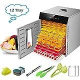 Deshidratadora de Alimentos con 12 Bandejas Acero Inoxidable, Temporizador de 24 Horas, Temperatura Regulable 30~90°C, Pantalla LCD, 1000W Deshidratador Alimentos de Frutas y Verduras, Libre BPA