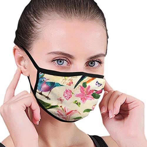 Zwarte rand masker, vogels, bloemen en vlinders aquarel tekeningen, stof masker, geschikt voor mannelijke en vrouwelijke maskers