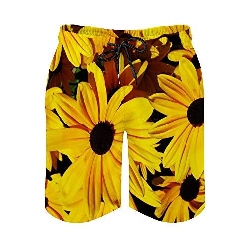 MayBlosom Pantalones cortos de playa para hombre, diseño vintage de flores amarillas de secado rápido, traje de baño casual hawaiano para fiestas de fiesta con elástico