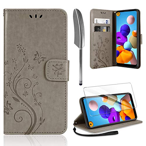 AROYI Lederhülle Kompatibel mit Samsung Galaxy A21s Hülle & Schutzfolie, Flip Wallet Handyhülle PU Leder Tasche Hülle Kartensteckplätzen Schutzhülle Kompatibel mit Samsung Galaxy A21s Grau