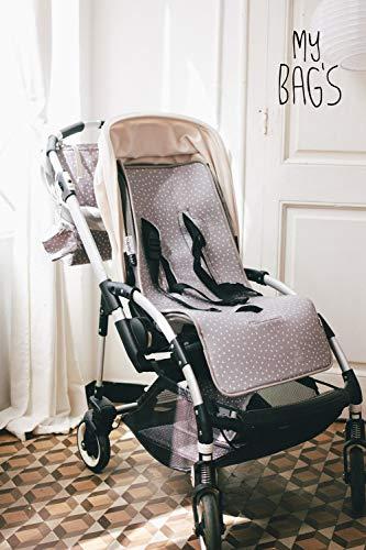 My Bag's Colchoneta para Silla de Paseo Universal para Carro de Bebé con 3 o 5 Puntos de Anclaje Diseño Estampado de Topitos y Estrellitas Color Gris Microfibra Transpirable 80x35 cm