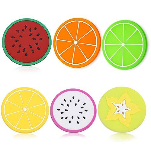 Posavasos de la bebida de las rodajas de la fruta del silicón de los posavasos y bebidas calientes o frías