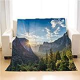 OTTOSUN Yosemite Blanket,Luxury Super Soft Throw Blanket,Sunrise at Yosemite National Park,Lightweight Warm Blanket for Bed Couch Sofa Outdoor Travel,31 X 47in