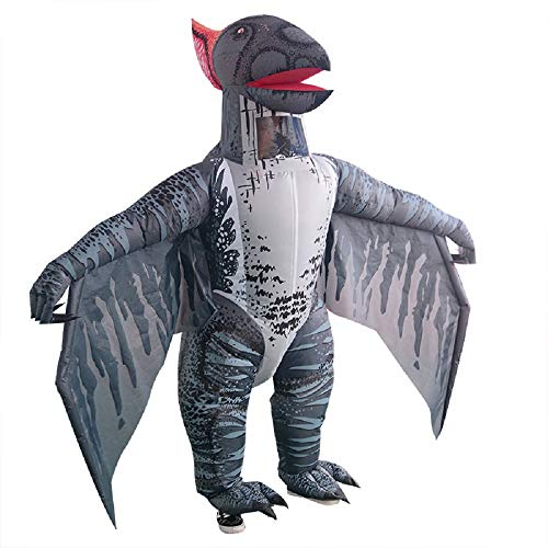 T-rex Inflatable Dinosaur Costume Pterosaur Fancy Dress Adult Halloween Cosplay Suit (Grey Pterosaur)