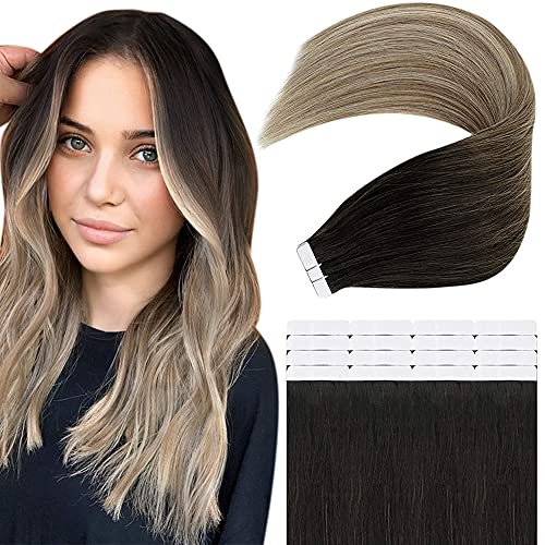 Easyouth Adhesive Cheveux Naturel Glue in Extensions Humains Cheveux Couleur Off Black to Brown and Blonde Hair Extensions Skin Weft Cheveux Extensions 12pouces 30cm 20Pcs