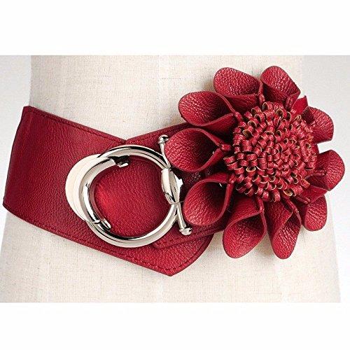 SAIBANGZI Ceintures de Femmes Ladies' Serrage Waistb Décoratifs Fleurs Taille Robe Taille Rouge One-Size Joint pour Courroies