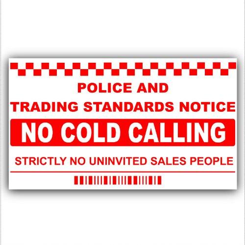 Geen koude bellers, verkoper bellen waarschuwing huis Sticker zelfklevende Vinyl deur of venster teken