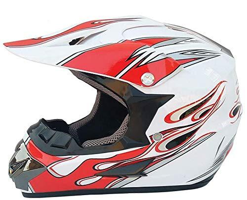 ZGYZ Casco de Motocross para Hombre, Casco de Motocicleta Rojo Blanco para ATV MTB Enduro, Soporte de teléfono para Casco de Motocicleta (Juego de 5 Piezas)