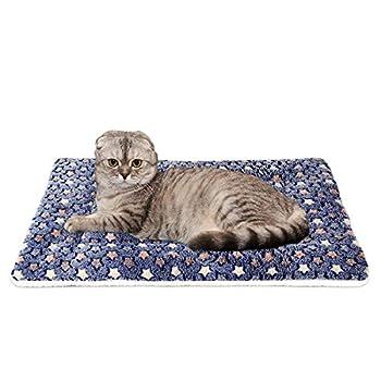 Vennisa Matelas Double Tapis Réversible/Couvertures Coussin pour Chien et Chat, Lit de Couchage en Velours Doux pour Animal Chat Chien (45 * 32, bleu foncé)
