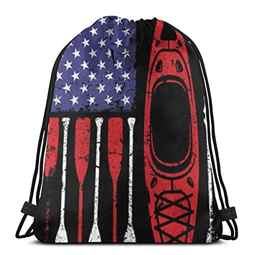Bolsas con cordón con bandera de Estados Unidos Kayak Paddle Unisex Mochila con cordón Bolsa de deporte Bolsa de cuerda Bolsa grande Bolsa de asas Bolsa de Gimnasio Mochila a granel