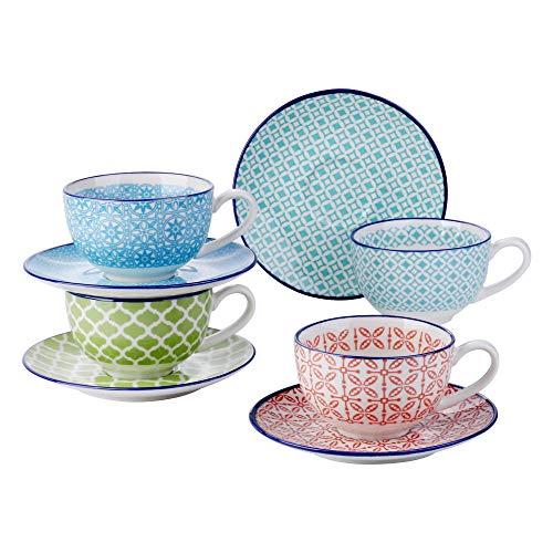 Vancasso Kaffeeservice Porzellan, Macaron 8 teilig Kaffeeset bunt für 4 Personen, Beinhaltet Kaffeetassen, Untertassen