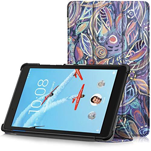TTVie Hoes voor Lenovo Tab E8, Ultraslanke Lichtgewicht Slimme Standaard Beschermhoes voor Lenovo Tab E8 8 Inch Tablet 2018 Release, Kleurrijke Bladeren