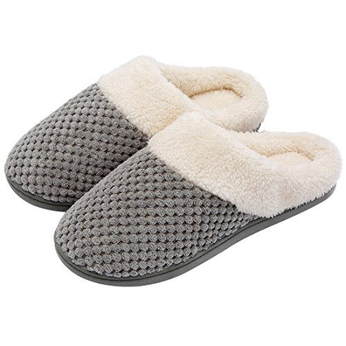 ULTRAIDEAS Women's Soft Gridding Coral Velvet Short Plush Lining Slip-on Memory Foam Clog Indoor Slippers (Large / 9-10 B(M) US, Gray)