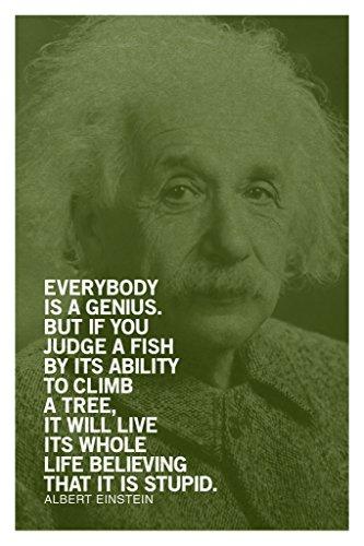 Albert Einstein Everybody Is A Genius Motivational Green Quote Poster 12x18