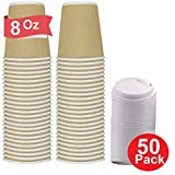 1InTheHome 8 Oz Paper Cups With Lids, Paper Coffee cups 8 oz, 8 Oz. Disposable Insulated Ripple Wall Paper Coffee Hot Cups with Lids (50 Cups & 50 Lids))