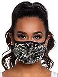 Leg Avenue Women's Rhinestone Fashionable Face Mask, Zuri Black, One Size US
