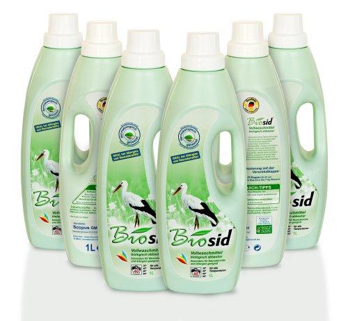 Biosid 6x1 Liter, bis zu 480 Waschladungen von 2,5 kg ideal bei empfindlicher Haut, Neurodermitis, Allergien und für Baby's