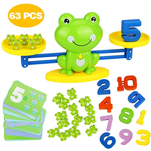 Aitbay Cool Math Game, Frog Balance Counting Toys for Boys & Girls Educational Number Toy Fun Children's Gift STEM Learning Age 3+ (63 PCS)