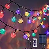 Guirlande Lumineuse Solaire Exterieur - 17M 100 LED Guirlande Solaire Extérieure Étanche IP65 8 Modes Guirlande Lumineuse Solaire & USB pour Jardin,Guinguette,Noël,Fête avec Télécommande (Multicolore)
