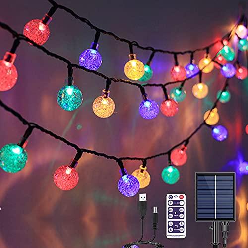 Guirnaldas Luces Exterior Solar,  17M 100 LED Luces Solares Led Exterior Jardin con USB y Solar Energía Carga 8 Modos IP68 Impermeable Cadena de Luces Solares LED Bola de Cristal con Control Remoto