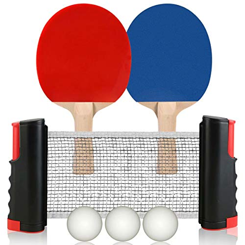 Best Deals! Hoperay 2 Ping Pong Paddles, 3 Balls, 1 Table Tennis Net for Any Tables Includes Conveni...