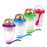 Schramm® 4 Piezas para Llevar Muesli-to-Go 4 Colores Surtidos Taza de Muesli Incl. Cuchara Tazón de Cereal Taza de Yogur