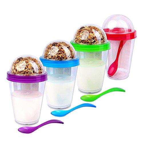 Schramm® 4 stuks yoghurtbeker to go muesli-to-go 4-kleurig gesorteerd mueslibeker incl. lepel mueslischaal yoghurt beker mueslihouder yoghurthouders voor onderweg, 4-pack