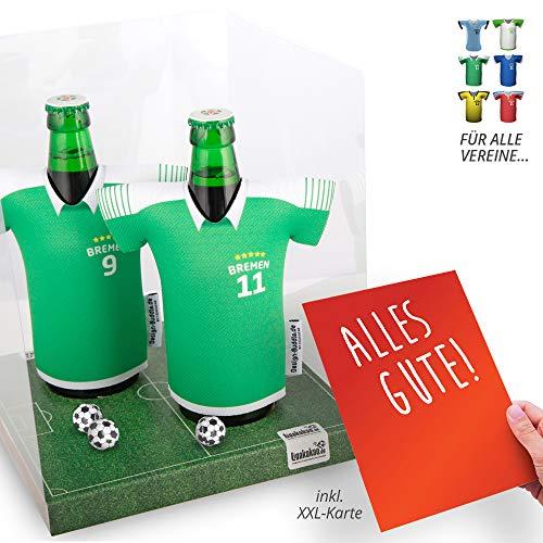 vereins-Trikot-kühler Away für Werder-Fans | 2er Geschenk-Box-Edition| 2X Trikots | Fußball Fanartikel Jersey Bierkühler by Ligakakao