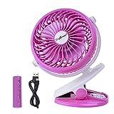 SkyGenius Battery Operated Clip on Stroller Fan, Portable Mini Desk Fan Rechargeable(Pink)