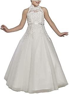 Castle Fairy High Neck Flower Girl Dresses Christmas Ball Gowns Beads First Communion Dress