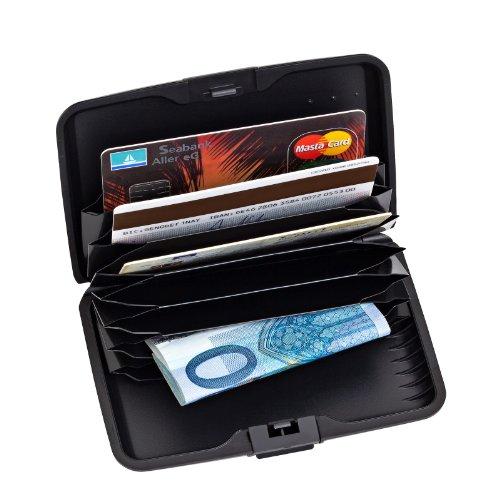 2-TECH Deluxe Kreditkarten Etui Alu Case Wallet Schwarz