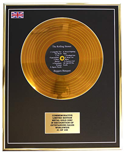 Everythingcollectible The Rolling Stones - Beggars Banquet/Metall Gold Disc Display Gedenk Limited Edition