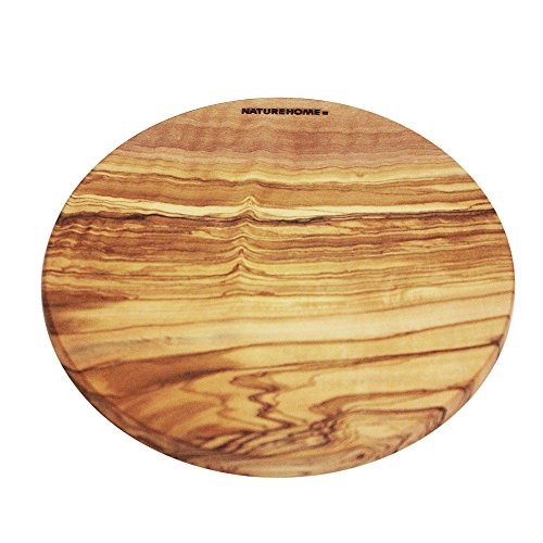 NATUREHOME Olivenholz Schneidebrett 30cm Rund - antibakterielles und antiseptisches Holzschneidebrett Frühstücksbrett Massivholz Küchenbrett Holzbrett hochwertig