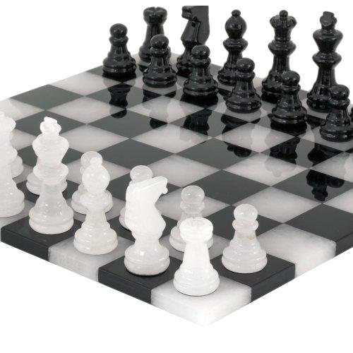 Black and White Edge to Edge Alabaster Chess Set 14 Inches