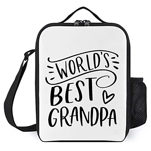 Worlds Best Grandpa Grandpa Halloween Theme Lunch Bags Gift For Women Men Teens Girls Kids Lunch Container Boxes Insulated Cooler Tote Bags with Bottle Holder Reusable For Work School, 10x9x3''