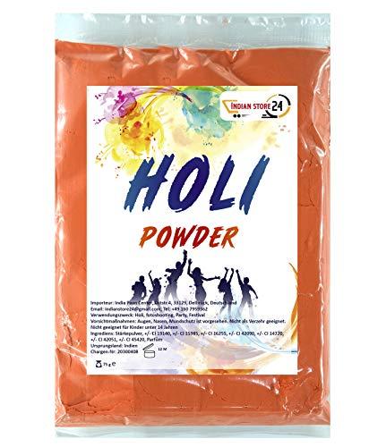 INDIAN STORE 24 Holi Gulal Polvo Soluble en Agua Festival Natural Fotografía Sesión Rangoli Colores Arco Iris Polvo Bolsa de Color Santo Brillo Color Polvo Fotos (Safety Orange)