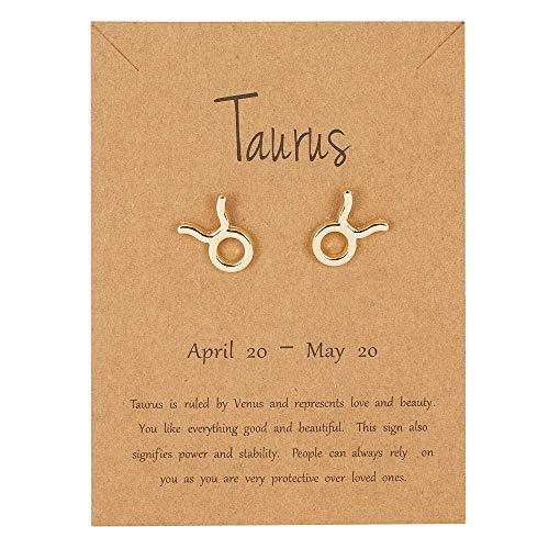 Pendientes de tuerca de oro con signo de estrella – Tauro (20 de abril – 20 de mayo) – Constelación del zodiaco – Joyería de astrología celestial – Regalo para mujeres y hombres